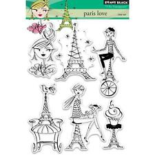 New Penny Black RUBBER STAMP clear PARIS LOVE set free usa ship