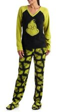 Dr. Seuss Allover Grinch Footed Pajamas 2 Piece Footie EUC S LAST ONE