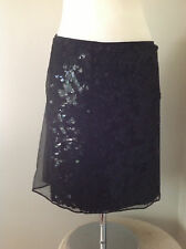 $228 Tahari Black Straight Mini Glittering Sequined Maya Skirt  10p
