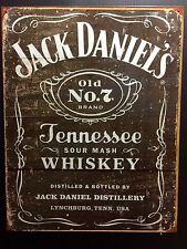 Weathered Jack Daniels  TIN SIGN Vtg Whiskey Bottle LabeL Bar Wall Decor Pub