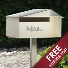 Milkcan Cream Crest Letterbox Freestanding Mailbox with Post + FREE EXTENDA POST