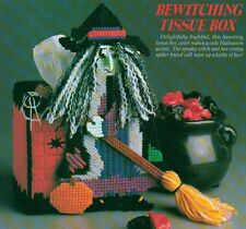 BEWITCHING TISSUE BOX COVER HALLOWEEN PLASTIC CANVAS PATTERN INSTRUCTIONS