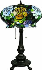 Table Lamps For Living Room Bedroom Roses Tiffany Style Vintage Stained Glass