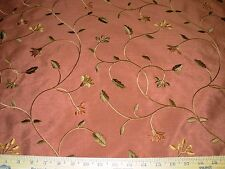 """~BTY~FAUX SILK~""""ORADEA""""FLOWERS EMBROIDERED~DRAPERY UPHOLSTERY FABRIC FOR LESS"""