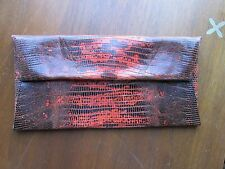 Jil Sander black orange reptile snake leather clutch handbag new