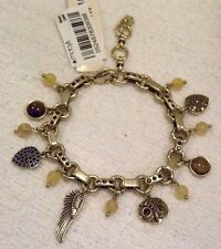LUCKY BRAND CHARM BRACELET GOLD OWL, FEATHER, AMBER CRYSTALS, TIGER EYE, NWT
