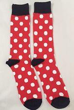 Men's Red Socks White Polka Dot Patterned Colorful 1 Pair - Regular Size 10-13