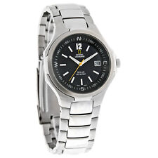 National Geographic Solar Mens 38MM Black Dial Stainless Steel Watch NG15GKBS-SL