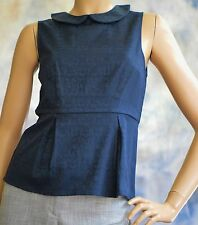 NWT J CREW Top Sz 2 Navy Blue Brocade Top Blouse w/ Peplum Cotton Poly Spandex
