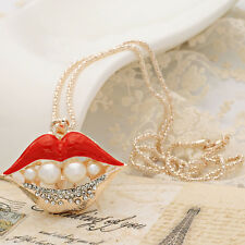 Bling Rhinestone BIG RED LIPS & pearl Statement  Gold Necklace LINK CHAIN