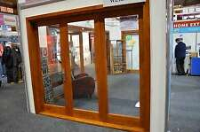 CEDAR TIMBER BIFOLD DOORS+ RETRACTABLE FLY SCREEN, 3 PANEL, PRE-HUNG & STAINED