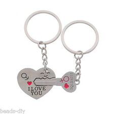 1Pair Couple Key Chain Engrave Words Keyring Valentine's Day Gift Love Heart