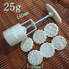 Baking Tools 1 sets Pastry /Cake / Moon round Mold 1 MOLD 25g 6 Stamps diy tool