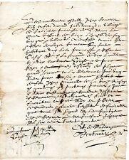 6/ REGION AUVERGNE / LETTRE DOCUMENT MANUSCRIT 1680 Latin Vieux Français