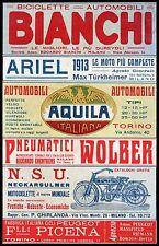 PUBBLICITA' BICI BIANCHI MOTO ARIEL N.S.U. AUTO AQUILA WOLBER F..LLI PICENA 1913