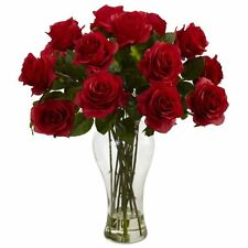 Nearly Natural 1328-RD Blooming Roses with Vase- Red