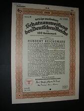 3rd Reich: 1936 German Reich bond/treasury note, 100 Reichsmark, cancelled