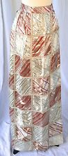 Deadstock Designer Maralyn Ballif Long Metallic Silver Patchwork Wrap Skirt 12