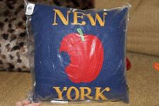 NWT Pottery Barn New York Crewel Embroidered Knit Pillow with Insert 12""
