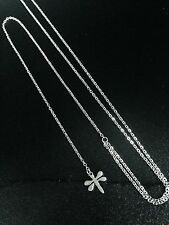 Silver Long Y-Drop Dragonfly Necklace Pendant Stainless Steel Chain