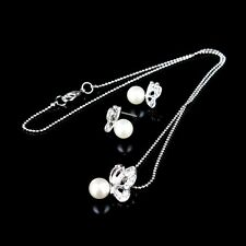 Hot Sale Rhinestone Butterfly Imitated Pearl Earrings And Necklace Jewelry Set