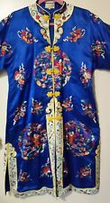 ANTIQUE CHINESE EMBROIDERED WOMEN'S ROBE KIMONO DRESS Sz M