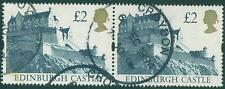 [JSC]1988 GB QE2 £2 H/V Edinburgh Castle SG 1412 pair