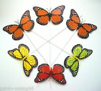 12 Pcs 4.7'' Monarch Butterfly on Wires Tie Wedding Crafts Floral decor Handmade