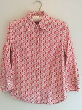 J.CREW SHIRT SIZE SMALL FLORAL BUTTON-DOWN 3/4 SLEEVE COTTON CORAL PINK FLOWERS