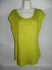 WILLI SMITH OLIVE GREEN SHORT SLEEVE KNIT TOP WOMENS MEDIUM NWT