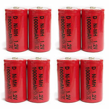 8 pcs D Size 10000mAh NiMH 1.2V Volt Rechargeable Battery Cell Red US Stock
