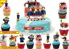 Fireman Sam Fairy Cup Cake Scene Toppers Birthday Wafer  Edible STAND UP CUSTOM