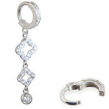 TummyToys Sparkling Sterling Silver Cz Fancy Charm Belly Button Ring