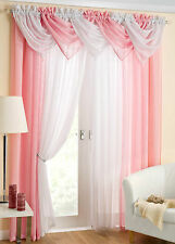 GLITZ SPARKLE 9 PIECE BEADED SWAG AND VOILE CURTAIN SET ~ Many Colours & Sizes