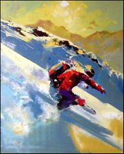 """Malcolm Farley """"Back Country Snow""""ski Hand Signed Giclee on Canvas Make an Offer"""
