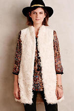 NEW Anthropologie Embroidered Shaggy Vest By Hei Hei Size Small $138 Ivory