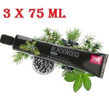 SPLAT BLACKWOOD. Unique Whitening Toothpaste with Charcoal & Juniper 75ml x 3