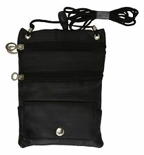 Brand New PASSPORT Leather ID Holder Neck Travel Pouch Wallet/ Black Leatherboss