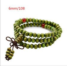 NEW AC OL 108*6mm Green Sandalwood Buddhist Prayer Bead Mala Bracelet/Necklace