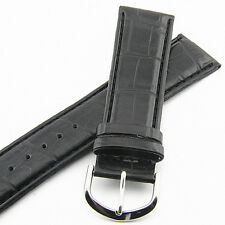 24MM CROCODILE STYLE BLACK GENUINE LEATHER MAN'S WATCH BAND GOLD TONE BUCKLE