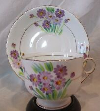 VINTAGE PHOENIX HAND PAINTED PURPLE MUMS BONE CHINA Cup & Saucer Made in England