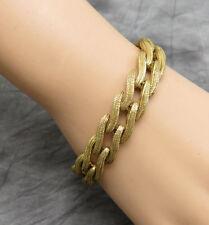 Monet Vintage Statement Bracelet 7.25 in. Gold Chain Textured Link Designer 115g