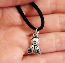 Lady Men Tibet Silver Teddy Bear Pendant NECKLACE Long Leather Cord Gift