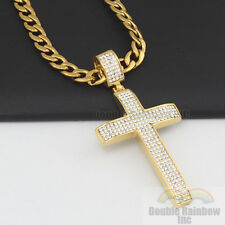 "30"" Men stainless steel Gold Silver bling Cross pendant cuban Necklace Chain ZB"