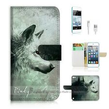 iPod Touch 5 iTouch 5 Flip Wallet Case Cover! P0793 Wolf