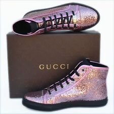 GUCCI New sz 39.5 G - US 10 Auth Womens Glittered Shoes High-Top Sneakers Pink