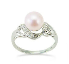 Charming! 100% 14K White Gold Pink Pearl & Diamond Accent Ring .05ct