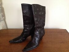 Vintage ARMANDO POLLINI Dark Brown Buttery Leather Boots Made In Italy 40.5 10