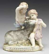 BEAUTIFUL MEISSEN STYLE PORCELAIN W/ 2 CHERUB ANGELS BLUE CROSSED SWORDS STAMP