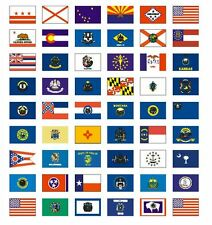 """Sheet of 50 U.S. State Flag Stickers 1"""" x 1-1/2"""" Plus 4 more Free - scrapbooking"""
